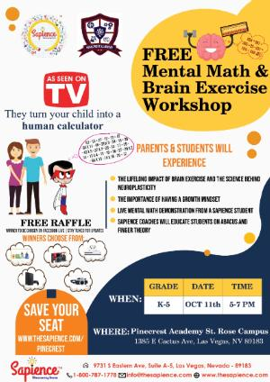 REMINDER!  The Sapience Mental Math Experience